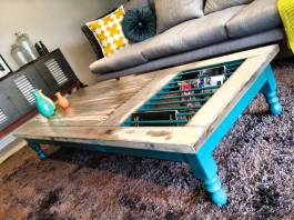 "Quirky coffee table made from a reclaimed door - love the ""magazine rails"" 